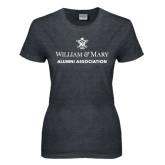 Ladies Dark Heather T Shirt-Alumni Association Stacked