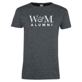 Ladies Dark Heather T Shirt-W&M Alumni