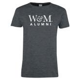 Ladies Dark Heather T Shirt-W&M Alumni