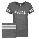 ENZA Ladies Dark Heather/White Vintage Triblend Football Tee-W&M