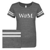 ENZA Ladies Dark Heather/White Vintage Triblend Football Tee-W&M