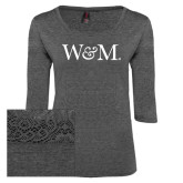 Ladies Charcoal Heather Tri Blend Lace 3/4 Sleeve Tee-W&M