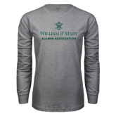 Grey Long Sleeve T Shirt-Alumni Association Stacked