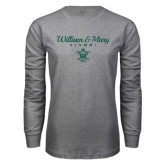 Grey Long Sleeve T Shirt-William & Mary Script Alumni