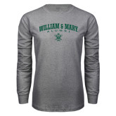 Grey Long Sleeve T Shirt-Arched Collegiate William & Mary Alumni
