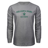 Grey Long Sleeve T Shirt-Arched Academic William & Mary Alumni