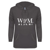 ENZA Ladies Dark Heather V Notch Raw Edge Fleece Hoodie-W&M Alumni