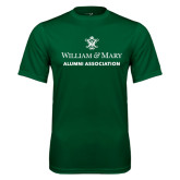 Performance Dark Green Tee-Alumni Association Stacked