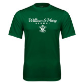 Performance Dark Green Tee-William & Mary Script Alumni