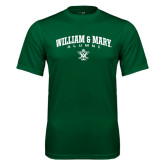 Performance Dark Green Tee-Arched Collegiate William & Mary Alumni