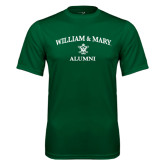 Performance Dark Green Tee-Arched Academic William & Mary Alumni