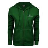 ENZA Ladies Dark Green Fleece Full Zip Hoodie-William and Mary