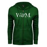 ENZA Ladies Dark Green Fleece Full Zip Hoodie-W&M