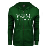 ENZA Ladies Dark Green Fleece Full Zip Hoodie-W&M Alumni