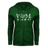 ENZA Ladies Dark Green Fleece Full Zip Hoodie-W&M Alumni