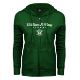 ENZA Ladies Dark Green Fleece Full Zip Hoodie-William & Mary Script Alumni