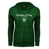 ENZA Ladies Dark Green Fleece Full Zip Hoodie-William & Mary Script Alumni