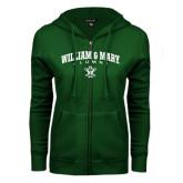 ENZA Ladies Dark Green Fleece Full Zip Hoodie-Arched Collegiate William & Mary Alumni