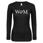 Ladies Black Long Sleeve V Neck T Shirt-W&M