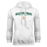 White Fleece Hoodie-Arched Collegiate William & Mary Alumni