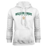 White Fleece Hoodie-Arched Collegiate William & Mary Alumni