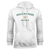 White Fleece Hoodie-Arched Academic William & Mary Alumni
