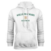 White Fleece Hoodie-Arched Academic William & Mary Alumni