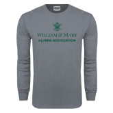 Charcoal Long Sleeve T Shirt-Alumni Association Stacked