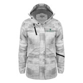 Ladies White Brushstroke Print Insulated Jacket-William and Mary