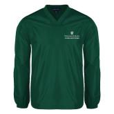 V Neck Dark Green Raglan Windshirt-Alumni Association Stacked