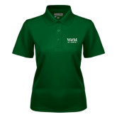 Ladies Dark Green Dry Mesh Polo-W&M Alumni