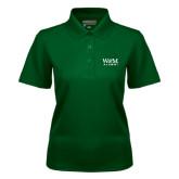 Ladies Dark Green Dry Mesh Polo-W&M Alumni