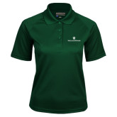 Ladies Dark Green Textured Saddle Shoulder Polo-William and Mary