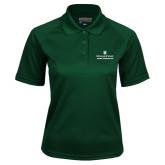 Ladies Dark Green Textured Saddle Shoulder Polo-Alumni Association Stacked