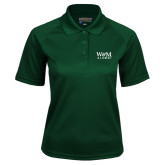 Ladies Dark Green Textured Saddle Shoulder Polo-W&M Alumni