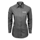 Ladies Grey Tonal Pattern Long Sleeve Shirt-W&M