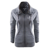Ladies Sport Wick Stretch Full Zip Charcoal Jacket-William and Mary