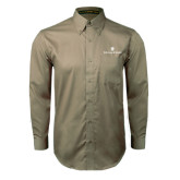 Khaki Twill Button Down Long Sleeve-William and Mary