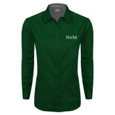 Ladies Dark Green Twill Button Down Long Sleeve-W&M