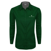 Ladies Dark Green Twill Button Down Long Sleeve-William and Mary