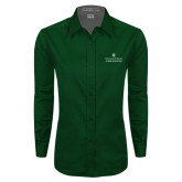 Ladies Dark Green Twill Button Down Long Sleeve-Alumni Association Stacked