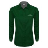 Ladies Dark Green Twill Button Down Long Sleeve-Alumni Association Stacked