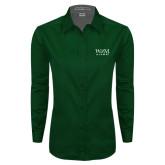 Ladies Dark Green Twill Button Down Long Sleeve-W&M Alumni