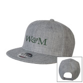 Heather Grey Wool Blend Flat Bill Snapback Hat-W&M