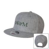 Heather Grey Wool Blend Flat Bill Snapback Hat-W&M