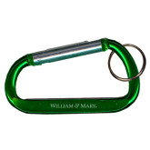 Green Carabiner with Split Ring-William & Mary Engraved