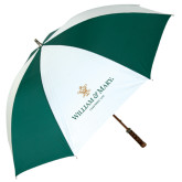 62 Inch Forest Green/White Umbrella-Chartered Logo