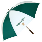 62 Inch Forest Green/White Umbrella-William & Mary Script Alumni