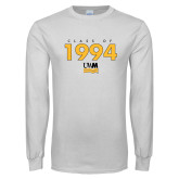 White Long Sleeve T Shirt-Class Of Personalized Year Stacked, Personalized year