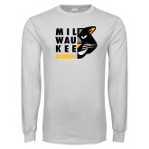 White Long Sleeve T Shirt-Milwaukee Alumni Right Side Face